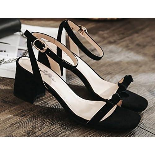 De Zcjb Cuero Zapatos Sandalias Grueso Mujer Tacón HUwqzUSx5