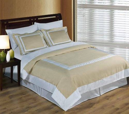 Wrinkle Free Hotel 3pc Duvet Cover 300 THREAD COUNT 100% Egyptian Cotton (Beige with White, King/California King)