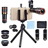 #7: Apexel 4 in 1 12x Zoom Telephoto Lens + Fisheye + Wide Angle + Macro Lens with Phone Holder + Tripod for iPhone X/8/ 7 /6/6s plus SE Samsung HTC Google Huawei LG Ipad Tablet PC Laptops
