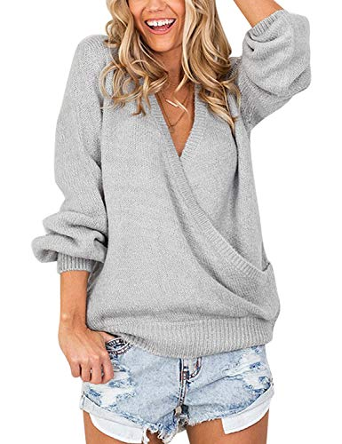 ACKKIA Women Knitted Long Sleeve Solid Light Grey Sweater Faux Wrap Surplice V Neck Loose Pullover Jumper Tops Size S 4 6