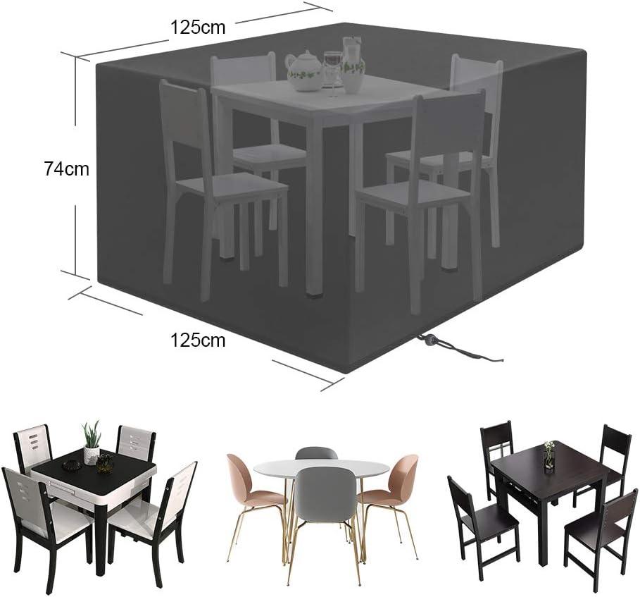 LAMA Garden Furniture Cover, 210T 125 x 125 x 74cm Waterproof Garden Table Cover Patio Furniture Cover Heavy Duty Oxford Fabric Rattan Furniture Cover for Windproof and Anti-UV Black