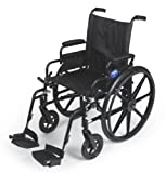 """Medline Premium Ultra-lightweight Wheelchair with Flip-Back Desk Arms and Swing-Away Leg Rests for Easy Transfers, Black, 20"""" Seat"""