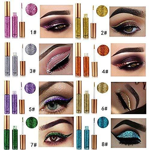 Easy To Do Halloween Eye Makeup (Eyeliner Glitter,ROPALIA 10 Pcs Shimmer Liners Waterproof Natural Eyes Makeup)