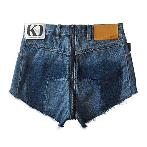 Blu Alta Pantaloncini Hotpant Vita Indietro Sexy Estate Ziper Donna Da Denim Strappati Nero Pizzo Pantaloni A Jeans Xinvision txpwRx
