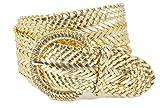 Women's Fashion Web Woven Braid Faux Leather Metallic Wide Belt, L 43',...
