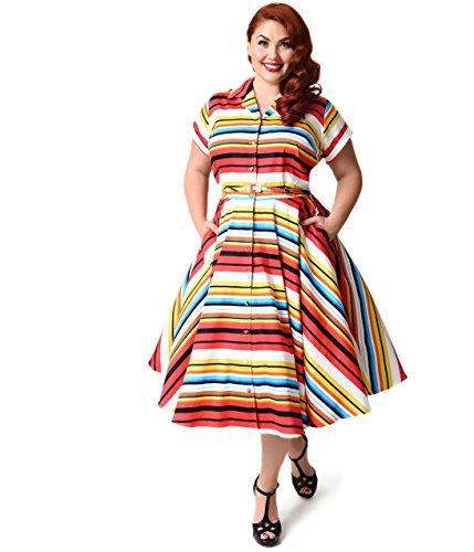 Unique Vintage Plus Size 1950s Style Multicolor Stripe Del Rey Shirtdress by Unique Vintage