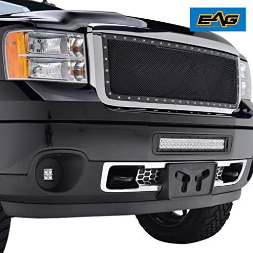 EAG Steel Mesh Rivet Replacement Grille ABS Shell Fit for 11-14 GMC Sierra 2500/3500