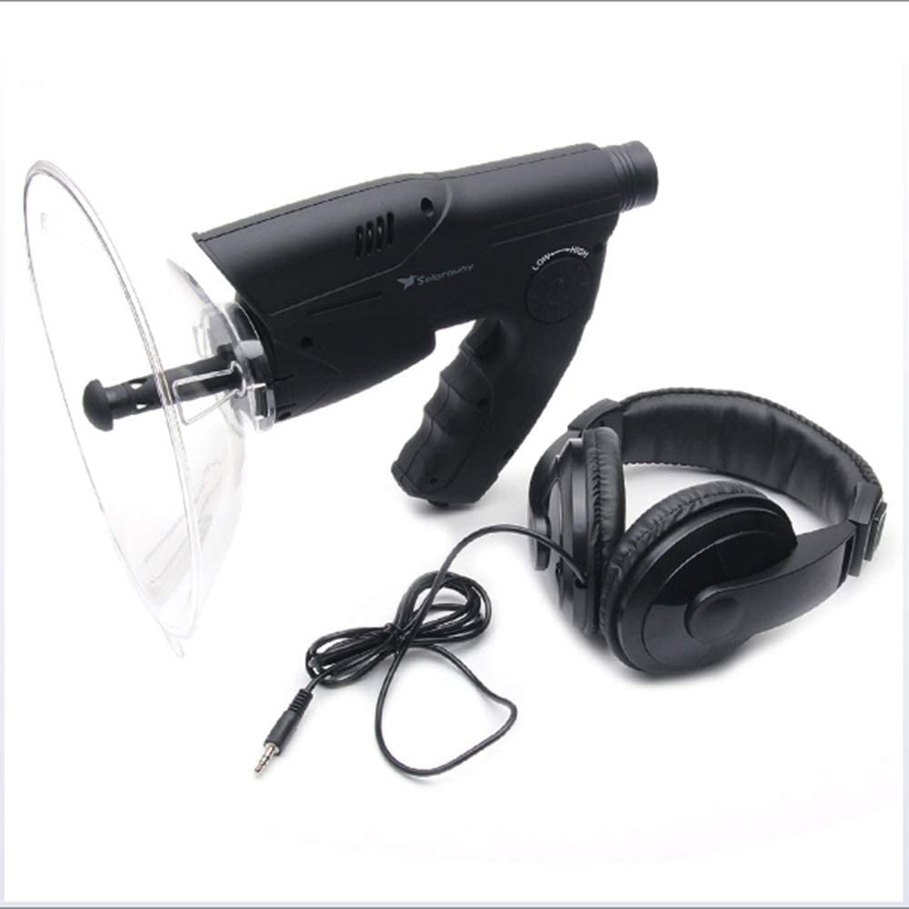 Parabolic Microphone Monocular, Sound Amplifier Spy Ear Bionic Listening Device, Long Range Listening Device up to 300 FT 8X Magnification for Birds Listening Telescope, Bush Walking