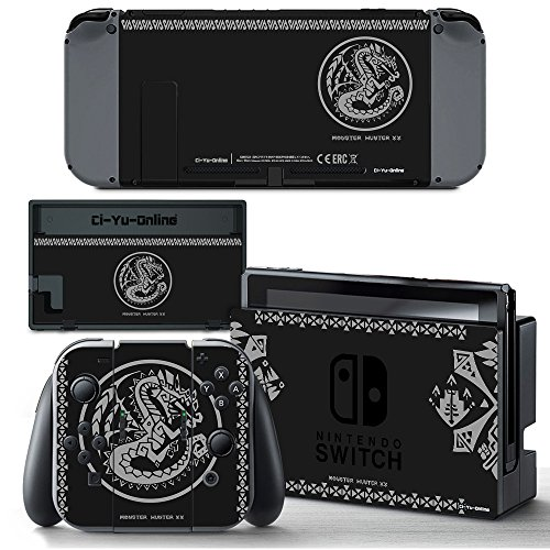 Ci-Yu-Online VINYL SKIN [NS] Monster Hunter XX Black STICKER DECAL COVER for Nintendo Switch Console and Joy-Con Controllers