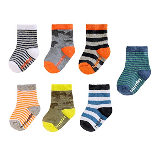 OshKosh B'Gosh Baby Boys' Crew Socks Days of the Week (7 Pack), White/Multicolor, 3-12 MONTHS