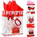 Jovitec 4 Pieces Large Valentine's Day Gift Bags 12.6 x 10.2 Inches Paper Gift Bag with Rope Handles and 10 Sheets Tissue Paper Valentine's Day Gift Wrapping Decoration, 4 Styles