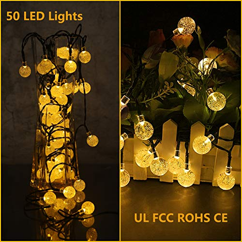 Rockjame Solar Globe String Lights 23FT 50 LED Crystal Bubble Ball Fairy Lights UL CE ROHS FCC Waterproof with 8 Modes for Outdoor Indoor Garden Patio Backyard Weddings Xmas Holiday Party Decor, Warm by Rockjame (Image #2)