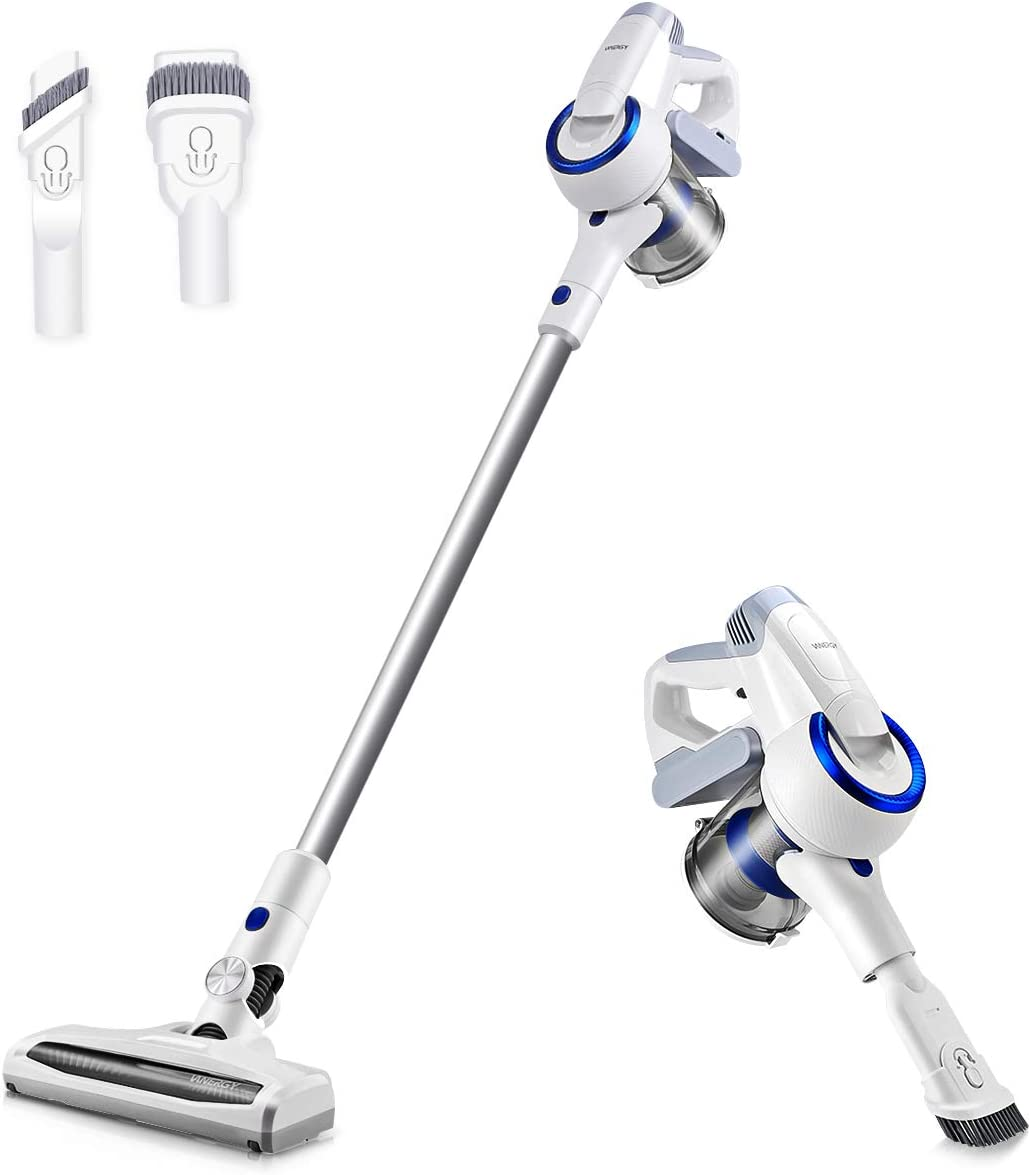 Vanergy Cordless Vacuum Cleaner, 2 in 1 Stick Vacuum with Digital Motor, Removable & Rechargeable Li-Ion Battery, Super Strong Suction for Home and Car Cleaning - Pearl White