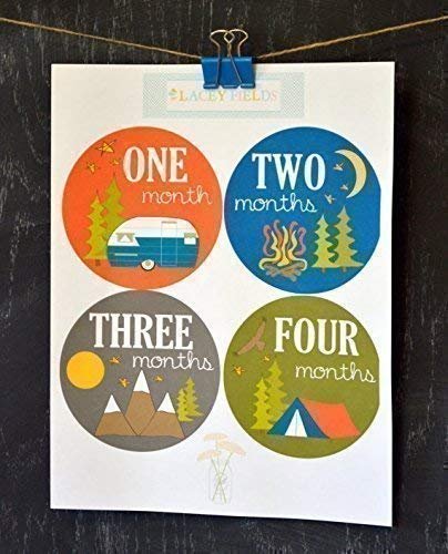 12 Pack Camping and Adventure Monthly Baby Stickers Baby Boy - 0-12 Months or 12-24 Months