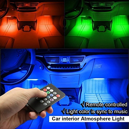 minger car led strip light 4pcs dc 12v multi color car interior music light led underdash. Black Bedroom Furniture Sets. Home Design Ideas
