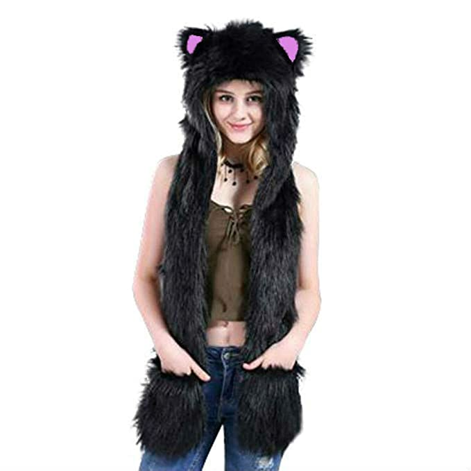 61765d10e Black Cat Hood Animal Hat Hoods Mittens Gloves Scarf Spirit Paws Ears with  Zipper Pocket