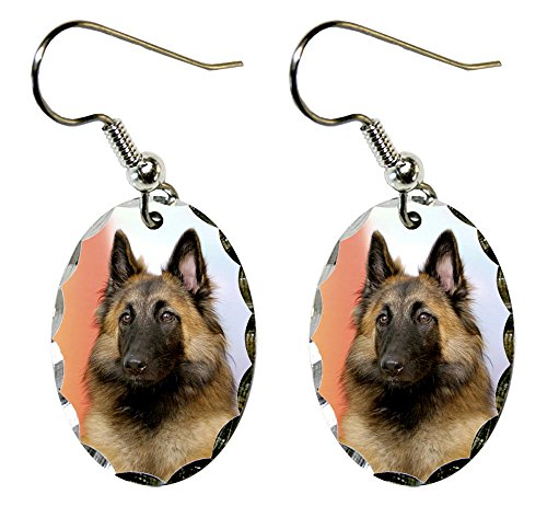 Canine Designs Belgian Tervuren Scalloped Edge Oval Earrings