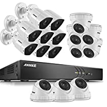 ANNKE 16CH 4K DVR Security Surveillance System with (16) 3MP TVI Outdoor Bullet Cameras, NO HDD