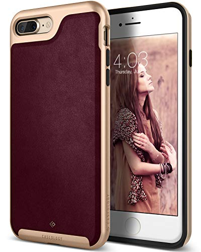 Caseology Envoy for Apple iPhone 8 Plus Case (2017) / for iPhone 7 Plus Case (2016) - Premium Leather - Leather Cherry Oak