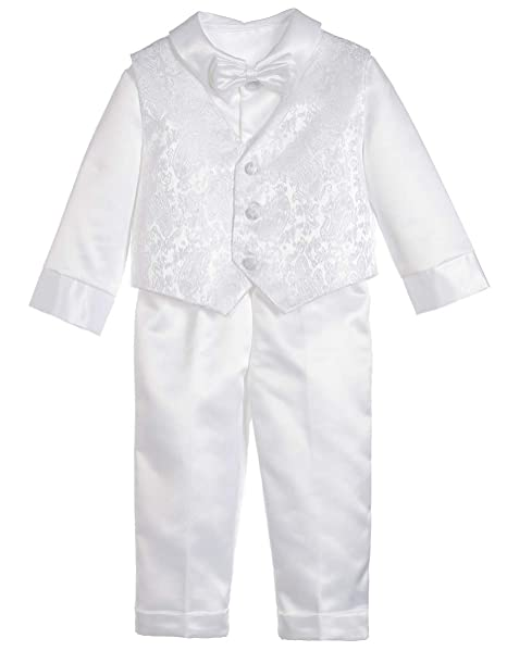 6b380fd6f ShineGown Baby Boys' Christening Outfits Baptism Gown White 5Pcs Long  Sleeves Shirt Waistcoat Bowknot Pants