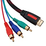 1.5m 5ft HDMI to 3-RCA Male Audio Video Component Convert Cable For HDTV 1080P