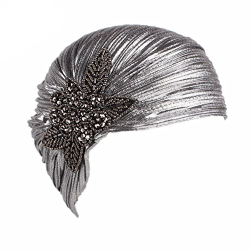 - CHUANGLI Women's Noble Ruffle Turban Hat Glitter Pleated Stretch Head Wraps Chemo Cap