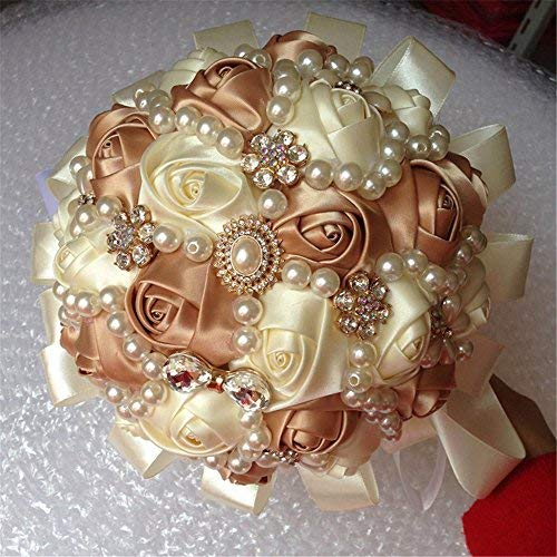 Hand Made Diamond Pearl Silk Roses Bridesmaid Bridal Artificial Bouquets Customization Bride Holding Bouquet Durable Wedding With Corsage Flower,18cm (Ivory+Rose Gold)]()