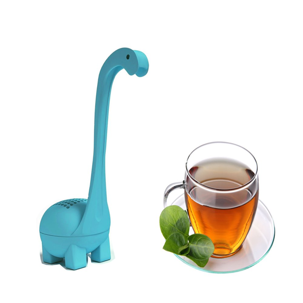 Loose Leaf Tea Infuser with Long Handle Neck & Cute Ball Body the Loch Ness Monster Silicone Tea Strainer & Steeper