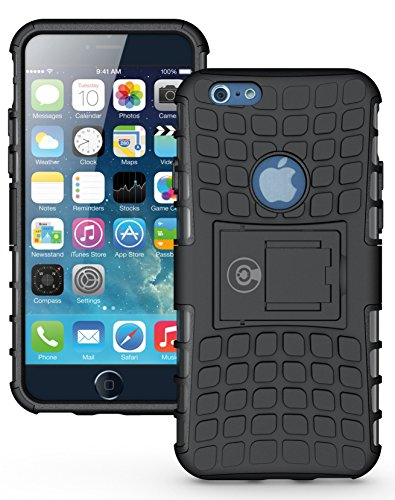 iPhone 6S Case, iPhone 6 Case Black by Cable and Case - [HEAVY DUTY] Tough Dual Layer 2 in 1 Rugged Rubber Hybrid Hard/Soft Impact Protective Cover [With Kickstand] Shipped (Black Kickstand Case)