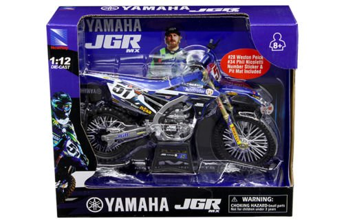 New 1:12 Motorcycles - BLUE YAMAHA JGR MX - JUSTIN BARCIA #51 Diecast Model Car By NEW RAY - Model Justin