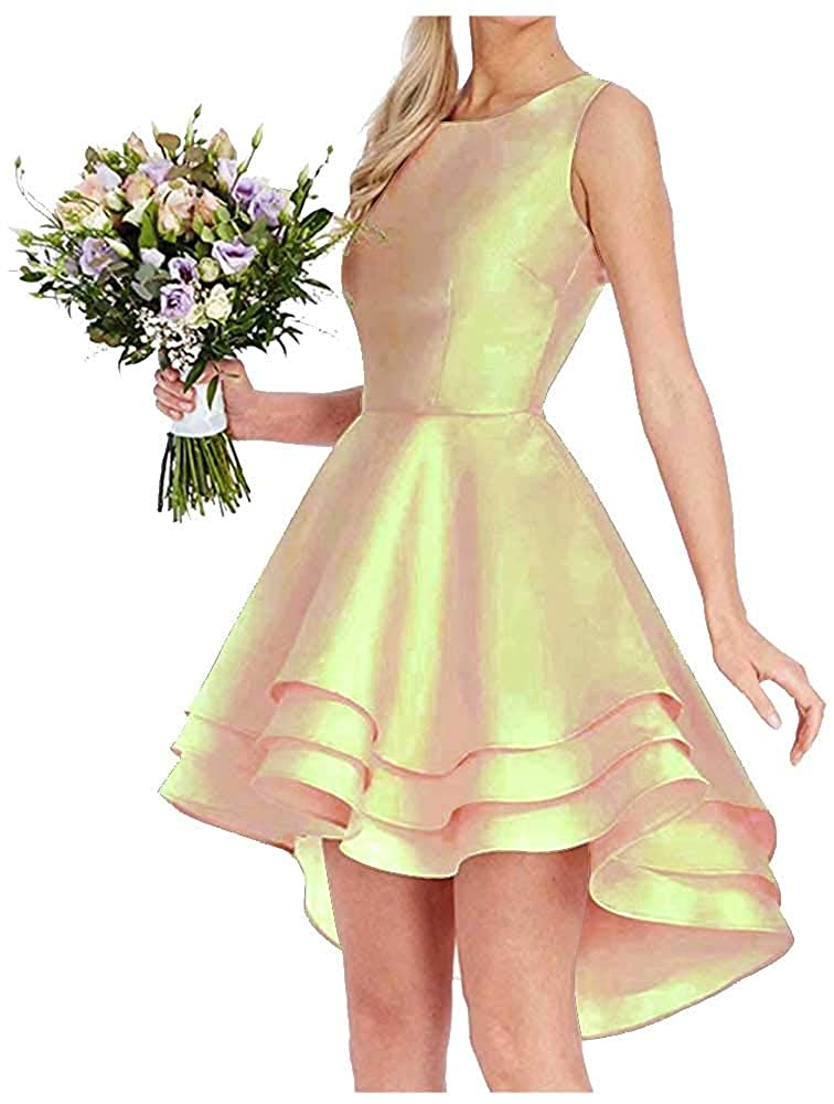Champagne Dressylady Simple A Line High Low Homecoming Dress for Juniors Short Prom Dress