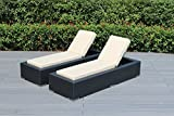 Ohana 2-Piece Outdoor Patio Furniture Chaise Lounge Set, Black Wicker with Sunbrella Antique Beige Cushions - No Assembly with Free Patio Cover