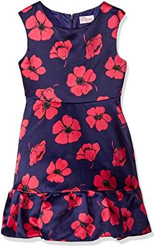 Sweet Heart Rose Girls' Navy with Fuschia Floral Printed Satin Occasion Dress