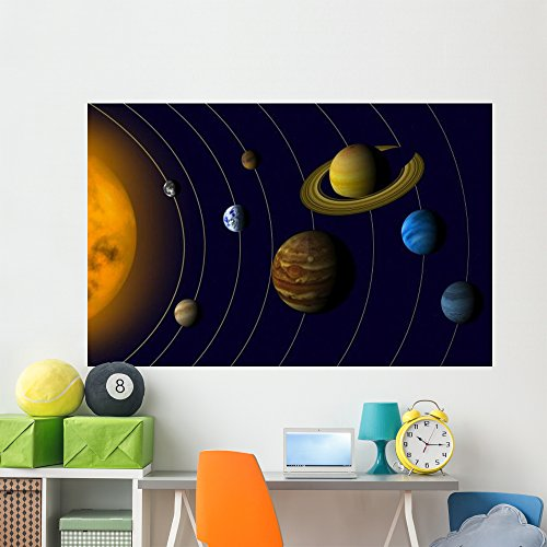 Solar System Wall Mural by Wallmonkeys Peel and Stick Graphic (72 in W x 47 in H) WM54323 by Wallmonkeys Wall Decals