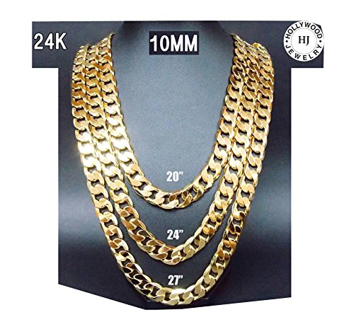 14K Gold Chain Necklace 10MM Diamond cut Smooth Shinny Cuban Link 30X Thicker Than Plated Fashion Jewelry
