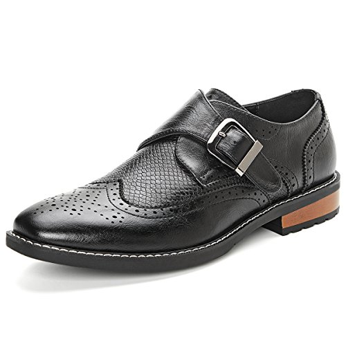 Men's Monk Strap Dress Shoes Wingtip Plaine Toe Single Buckle Slip on Loafer Black 10.5 by GM GOLAIMAN (Image #8)