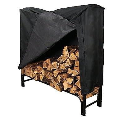 Sunnydaze 4-Foot Firewood Log Rack, Log Rack & Cover COMBO