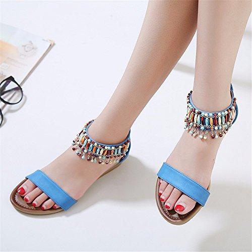 comode da B aperti Cunei YMFIE sandali frange di con antiscivolo estivi e spiaggia bohemien scarpe con nHwZq7xvwT