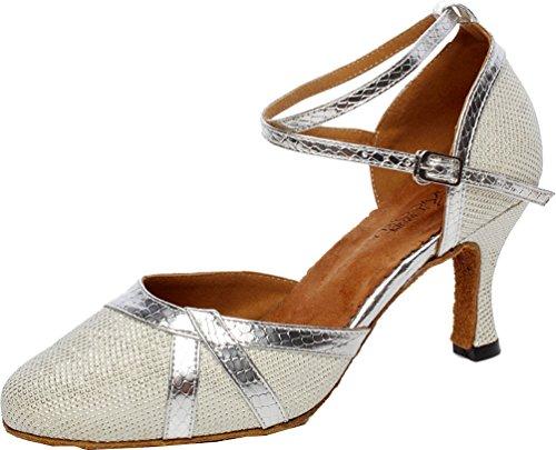 Abby Q-6227 Womens Latin Tango Rumba Cha-cha Ballroom Party Mid Heel Round-toe Fabric Dance-shoes Silver