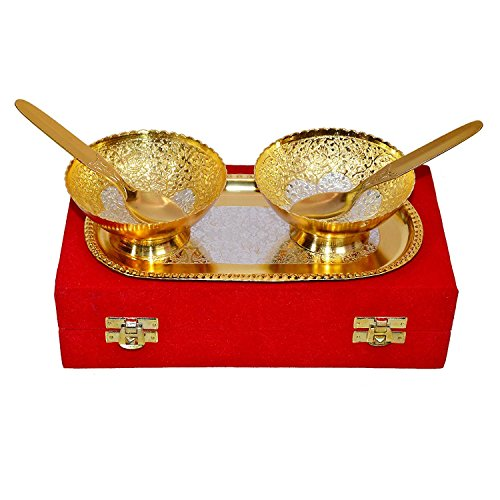 GD Handmade Designer 2 Bowls 2 Spoons 1 Tray with Comes with Gift Pack use for Dry Fruits, Gifting Purposes on Wedding Anniversary Diwali Navratri Occasion.Gold-Silver Color Plated Serving Bowl