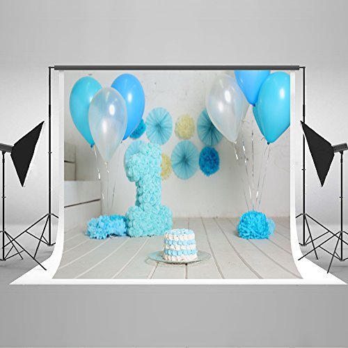LFEEY 3x5ft Polyester Girl Boy Photo Backdrop for Birthday Party Balloons Room Interior Kids Happy 1st Birthday Photo Booth Cake Smash Backgrounds for Photography Photo Studio Props No Wrinkle
