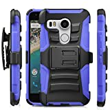 Fosmon (STURDY) Google Nexus 5X Case: Rugged Heavy Duty Hybrid Dual Layer Shell Case and Holster with Kickstand for Nexus 5X (Dark Blue)