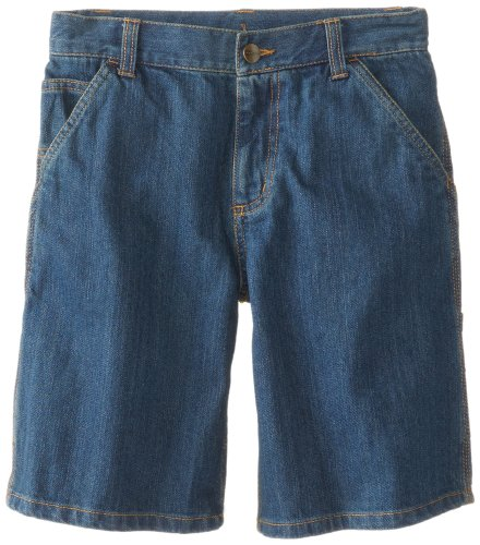 Carhartt Big Boys' Washed Denim Dunagree Short, Worn In Blue, 14 ()