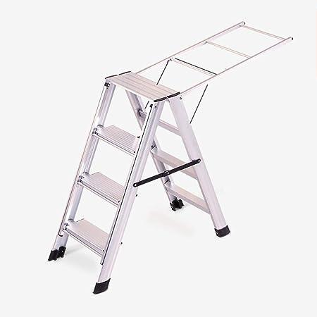 XEWNEG De Aluminio De Doble Cara De Escalera De 4 Pasos, Multiusos Escalera Tendedero De Doble Uso, Portátil Antideslizante Cubierta Escalera Ingeniería (Color : B): Amazon.es: Hogar