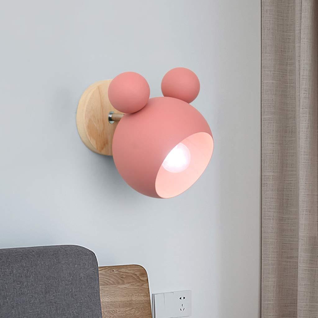 Unbekannt GJ Schlafzimmer Nachttischlampe rosa süße Persönlichkeit Wohnzimmer Dekoration Lampe einfache Kinderzimmer Wandleuchte GJV (Farbe : Pink)