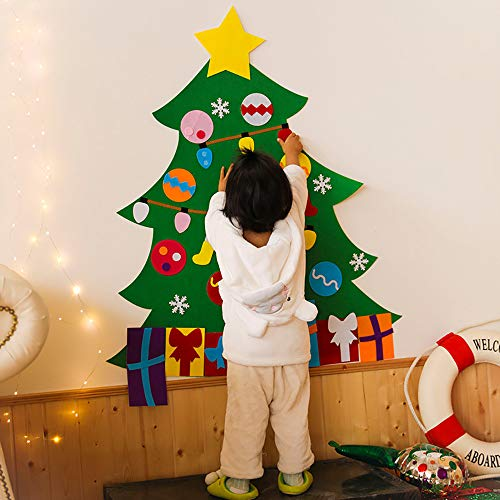 VEZARON 2019 Felt Christmas Tree, DIY Christmas Tree with Detachable Ornaments Wall Decor with Hanging Rope for Toddlers Kids Xmas Gifts Home Door Decoration (Multicolor, 39.4inch)