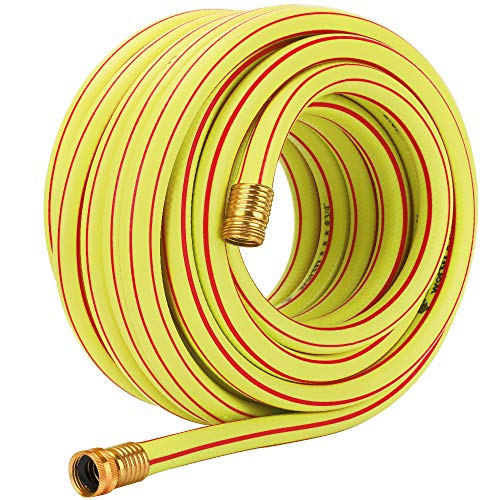 Homes Garden 50 ft. Garden Hose 3/4 inch Yellow Water Hose Commercial Brass Coupling Fittings for Household, Industrial 5 Years Warranty #G-H163A11-USA