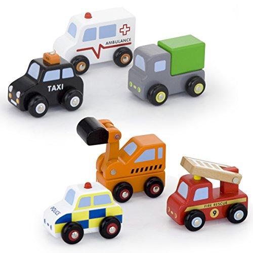 Vortigern - V51022 - 6 Fahrzeuge aus Holz - Bagger, Krankenwagen, Polizeiauto, Feuerwehrwagen, Taxi, LKW