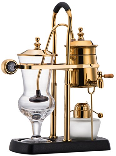 Diguo Royal-2 Belgium Belgian Luxury Royal Balancing Siphon Coffee Maker / Brewer. Easy to Clean Permanent Filter and Water Retainer. Color: Luxurious Gold …