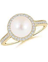 Angara Freshwater Cultured Pearl Spiral Halo Ring with Diamonds